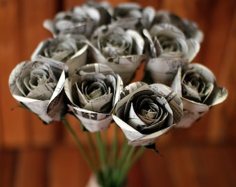 Comic Book Paper Roses with Stems- One Dozen