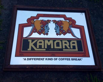 Vintage 1970's Kamora Mexico Imported Coffee Liqueur Bar Advertising Sign Mirror. Great Man Cave Piece