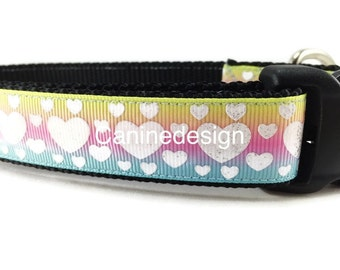 Valentine's Dog Collar, Ombre Hearts, 1 inch wide, adjustable, quick release, metal buckle, chain, martingale, hybrid, nylon