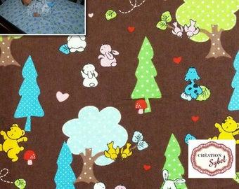 Large baby blanket flannel, 110cm X 110 cm, stroller blanket, kids blanket or crib fitted sheet