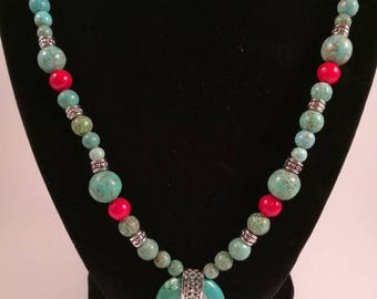 Turquoise, Red, and Silver Necklace Set - by Southern Ear Candy, Mother's Day