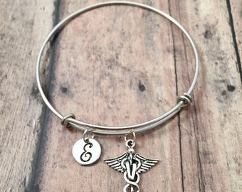 Veterinarian initial bangle - vet jewelry, gift for veterinarian, silver caduceus bangle, vet student gift, silver veterinarian jewelry