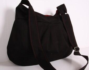 Everyday bag , Tote bag ,Handbag ,Shoulder Bag, Adjustable strap, Black Cotton and Burgundy lining