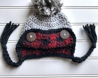 Crochet plaid hat, toddler lumber jack hat, adult lumberjack hat, buffulo plaid hat, lumberjack hat