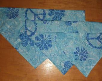 Blue Dog bandana, over the collar dog bandana, dog scarf, boho bandana for dogs, peace hippie dog bandana