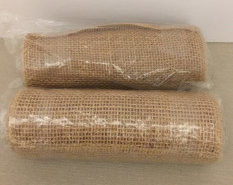 """2 Rolls of Natural Burlap  Each if 7"""" x 3 Yards"""
