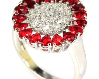 Sterling Silver Blood Ruby Gemstone Ring With AAA White CZ Accents Size 8