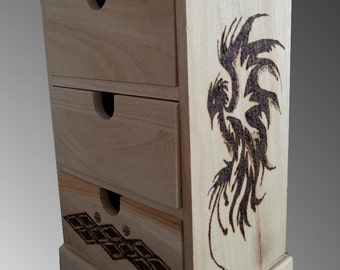 Medieval wood holzbranding Gothic branding pyrography wood fire bird