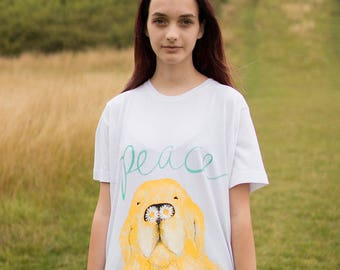 Hand Painted Sloth Peace Dog  Organic T-shirt