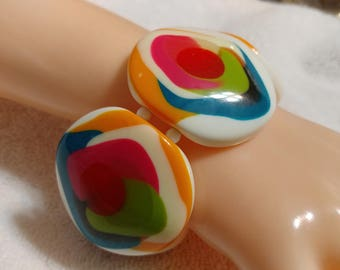 White, Red,Yellow,Green,Blue,Pink, Layered Stretch Lucite Bracelet.
