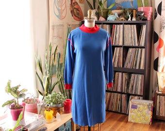 vintage 1980s long john nightgown . blue long underwear style thermal shirt dress . womens small medium sleep shirt