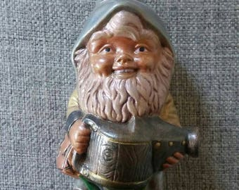 Ceramic gnome with watering can garden dwarf elf hand painted