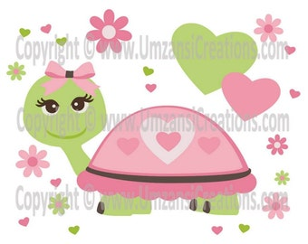 "DIY Printable ""Hearts and Turtle"" Iron On Transfer (PNG Digital Image)"