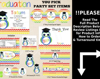 Owl Graduation Party Printables - Rainbow Owl Graduation Party - Graduation Party Set - Graduation Printables - Rainbow Chevron