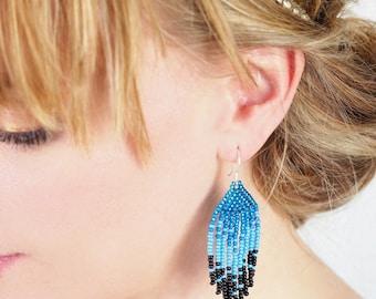 Bleu seed bead earrings, bleu long earrings, native american earrings, bleuchandelier earrings, modern earrings, fair trade earrings