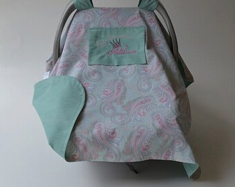 Princess Baby Car Seat Cover READY TO SHIP Mint Green Pink Baby Car Seat Canopy Baby Carrier Cover Baby Gift Baby Shower Newborn Baby Girl