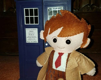10th Doctor Who inspired  felt plushie David Tennant in brown suit