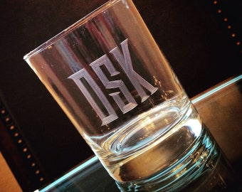 Hand Engraved Monogrammed Personalized Whiskey Rocks Glass: Men's Monogram