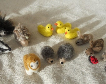 Needle felted animal, small felt animals, needle felted, play mat animals, waldorf, pre school, nursery school, nature table. duck, rabbit