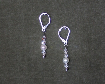 Pearl Earrings with Sterling Silver Lever Backs