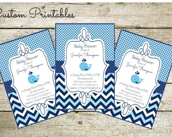 Printable Custom  Invitation, Baby Shower Invitation, Nautical Theme, Baby Whale Invitation
