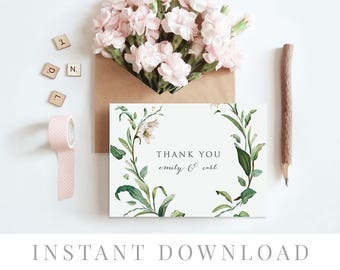 Printable Thank You Card INSTANT DOWNLOAD, Wedding Favor Card, DIY Printable Decorations, Templett, Editable pdf, Leaves, Adore