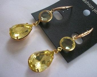 Designer Handmade Swarovski Channel Jonquil Citrine Drop Earrings 18x13