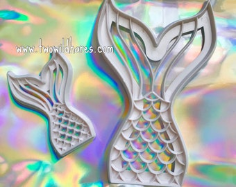 """MERMAID TAILS, 2 Piece Impression Tools, 4 1/4"""" & 2 1/4"""" Tails, Two Wild Hares"""