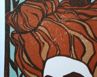 Wall Art Limited Edition Four Color Reduction Lino Cut Print