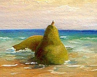 BEACHED PEARS I  Whimsical Fruit Seascape Giclee mini Print