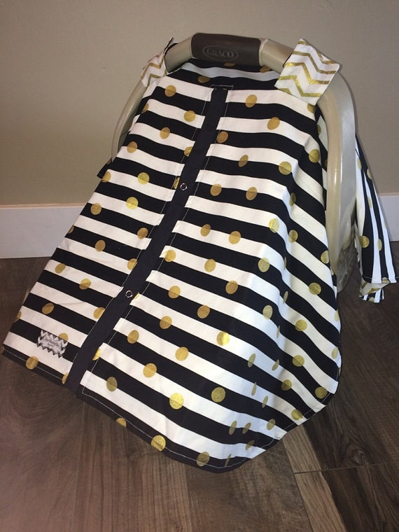 carseat canopy Black and Gold  / Car seat cover / car seat canopy / carseat cover / carseat canopy / nursing cover