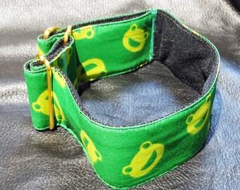 Martingale Dog Collar Adjustable Size New OOAK Frog Pattern