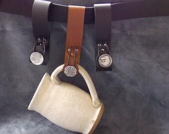 Leather Mug Strap w/Button
