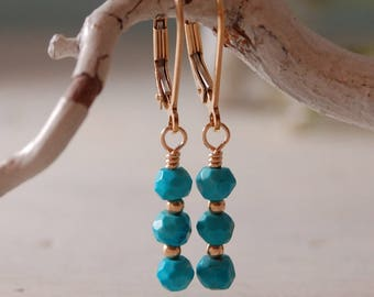 Sleeping Beauty Turquoise Dainty Turquoise Earrings  Blue AriZona Turquoise Gold Filled Earrings