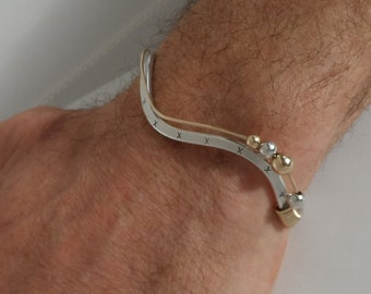 Sterling Silver & Yellow Gold Filled Stamped Cuff Bracelet