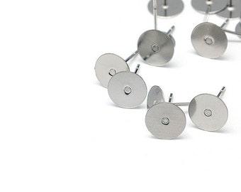 Earring stud hypoallergenic stainless steel 12mm x 8mm post earrings (JF591)