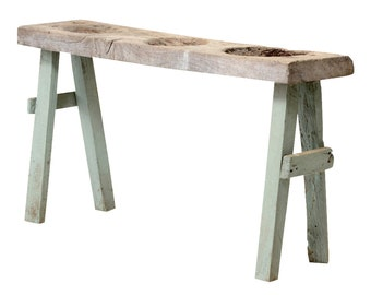 Antique Tribal Dough Table, Painted Console, Console Table, Rustic Console, Wood Carved Console Table, Rustic Table