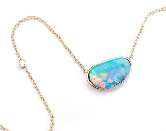 Opal Necklace, Opal Diamond Necklace, Blue Opal Necklace, October Birthstone, Australian Opal, Organic Opal, Opal Gold Necklace, Gold, Nixin