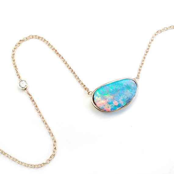 Opal necklace opal diamond necklace blue opal necklace opal necklace opal diamond necklace blue opal necklace october birthstone australian opal organic opal opal gold necklace gold nixin aloadofball Image collections
