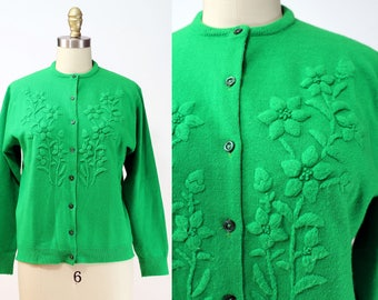 Vintage 1960s Green Floral Button Up Sweater Cardigan / Size M