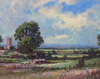 John Neale Original Oil Painting - Cotswolds Landscape - British Countryside
