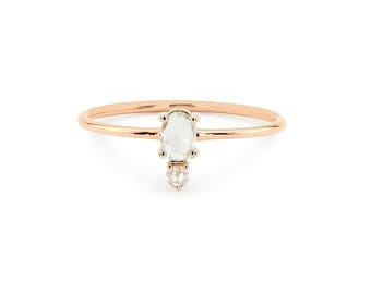 Rose Gold Engagement Ring / Rose Cut Oval Diamond in 14k Rose Gold / Rose Gold Diamond Ring / Graduation Gift