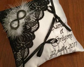 Ring pillow / cushion in black and white wedding with lace and the infinity symbol