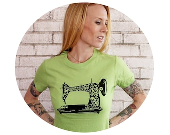 Screenprinted Sewing Machine Tshirt, Apple Green Cotton Crewneck Ladies Short Sleeved Graphic Tee Shirt Women's Clothing Tshirt Hand Printed
