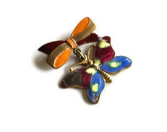 Vintage Enamel Butterfly Brooch // Purple, Blue and Orange Brooch