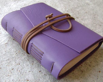 """Rustic leather journal, 4"""" x 6"""", lavender diary, travel journal, leather sketchbook (2980)"""