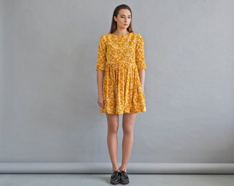 Pleated mustard dress - Womens velor dress - Ethnic fashion dress - Warm yellow dress - Floral casual dress - Women spring dress