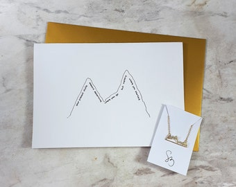 Mountain necklace & Greeting card PRE-ORDER ONLY