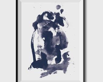 Abstract Watercolor Art Print, Printable Art Brush Strokes Wall Art, printable art, digital downloads, original art, navy blue art