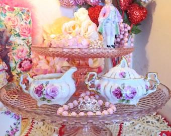 Small Vintage Sugar and Creamer Set Roses